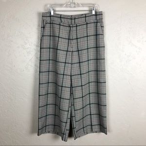 H&M Wide Leg Plaid Trousers Cropped